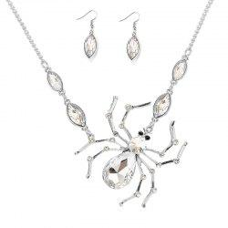 Rhinestone Spider Shape Necklace and Earrings