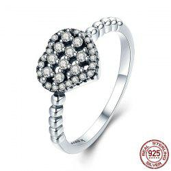 Rhinestone Weaving Heart Round Finger Ring