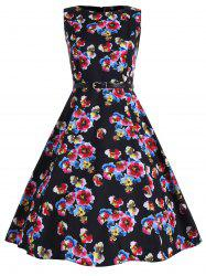 Floral Plus Size Vintage Full Dress