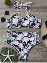 Floral High Waisted Strappy Bikini Set