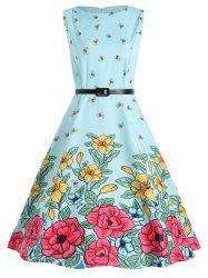 Bee Print Plus Size Midi Retro Dress