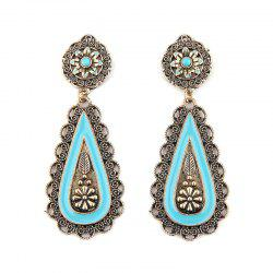 Bohemian Faux Turquoise Teardrop Flower Earrings
