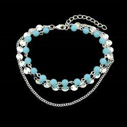 Disc Sequins Layered Chain Beaded Anklet