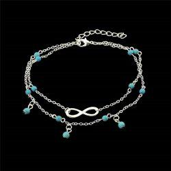 Faux Turquoise Beads Infinite Charm Anklet - SILVER