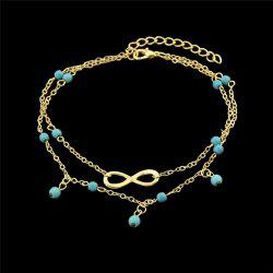 Faux Turquoise Beads Infinite Charm Anklet