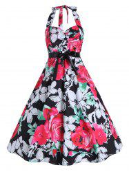 Plus Size Halter Floral Midi Vintage Dress
