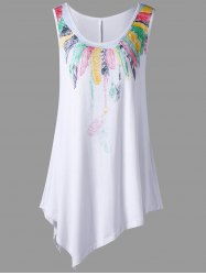 Plus Size Feather Print Asymmetrical Tunic Top