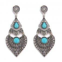 Faux Turquoise Rhinestone Teardrop Ethnic Earrings - Argent