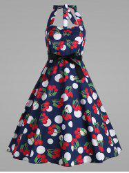 Plus Size Halter Cherry Printed Vintage Dress