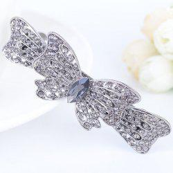 Strass Inlaid Bowknot Design Barrette - Argent