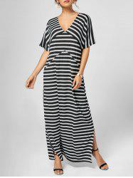 V Neck Slit Maxi Stripe Dress with Sleeves