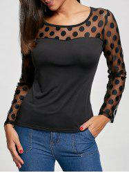 Sheer Tulle Panel Long Sleeve T-shirt