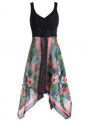 Plus Size Sleeveless Printed Handkerchief Dress -