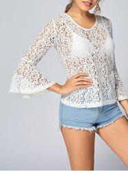 See Thru Flare Sleeve Lace Top