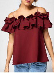 Spaghetti Strap Ruffle Off The Shoulder Top