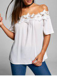 Applique Smocked Off The Shoulder Blouse