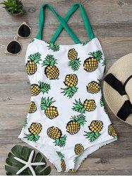 Cross Back Pineapple One Piece Swimsuit - COLORMIX S