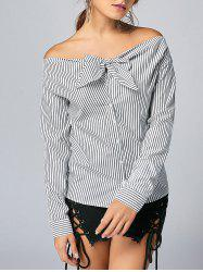 Bowknot Long Sleeve Striped Top
