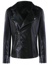 Zip Cuff PU Leather Biker Jacket
