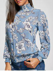 Mock Neck Floral Chiffon Top - BLUE