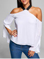 Cold Shoulder Slit Sleeve Blouse