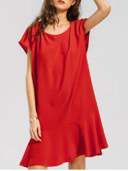 Ruffled Hem Cap Sleeve Casual Dress -