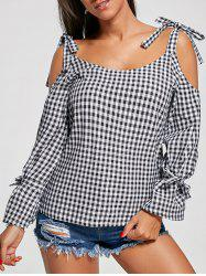 Checked Cold Shoulder Top -
