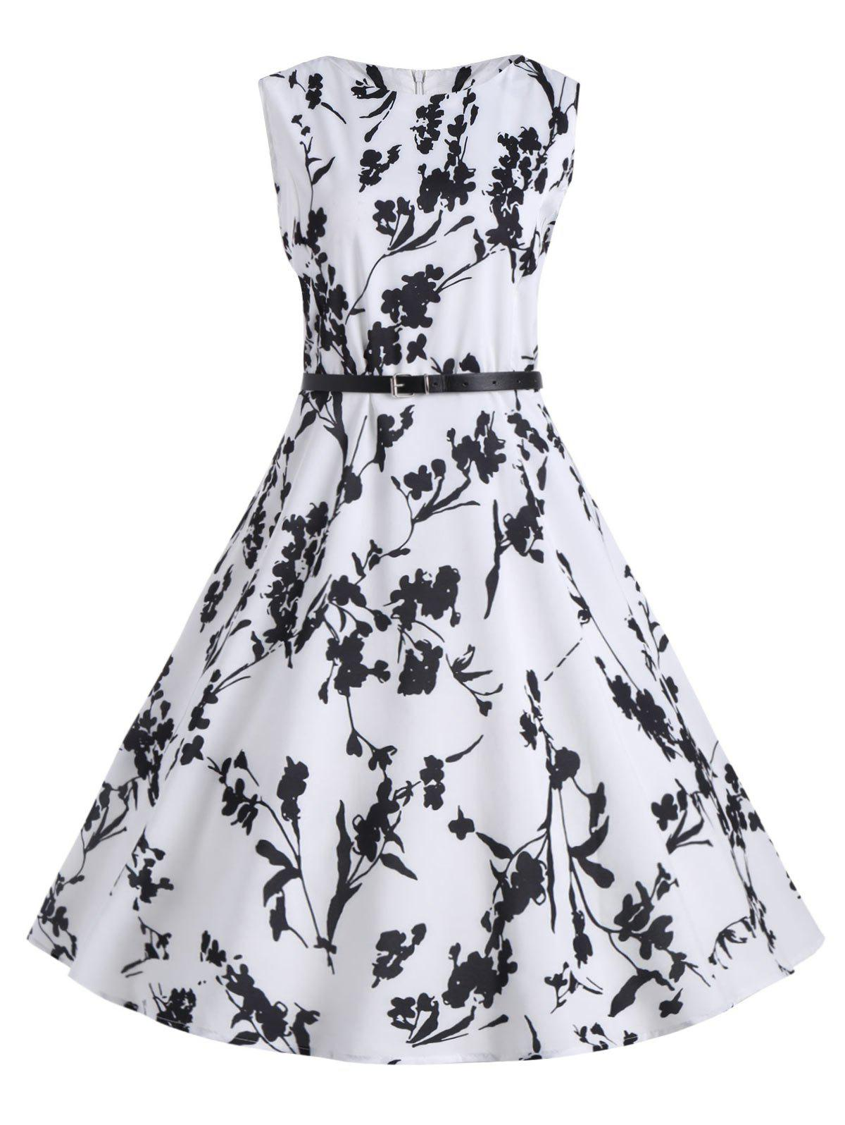 Plus Size Floral Midi Vintage Dress with BeltWOMEN<br><br>Size: 5XL; Color: WHITE; Style: Vintage; Material: Cotton Blend,Polyester; Silhouette: A-Line; Dresses Length: Mid-Calf; Neckline: Round Collar; Sleeve Length: Sleeveless; Embellishment: Vintage; Pattern Type: Floral,Print; With Belt: Yes; Season: Spring,Summer; Weight: 0.2400kg; Package Contents: 1 x Dress 1 x Belt;