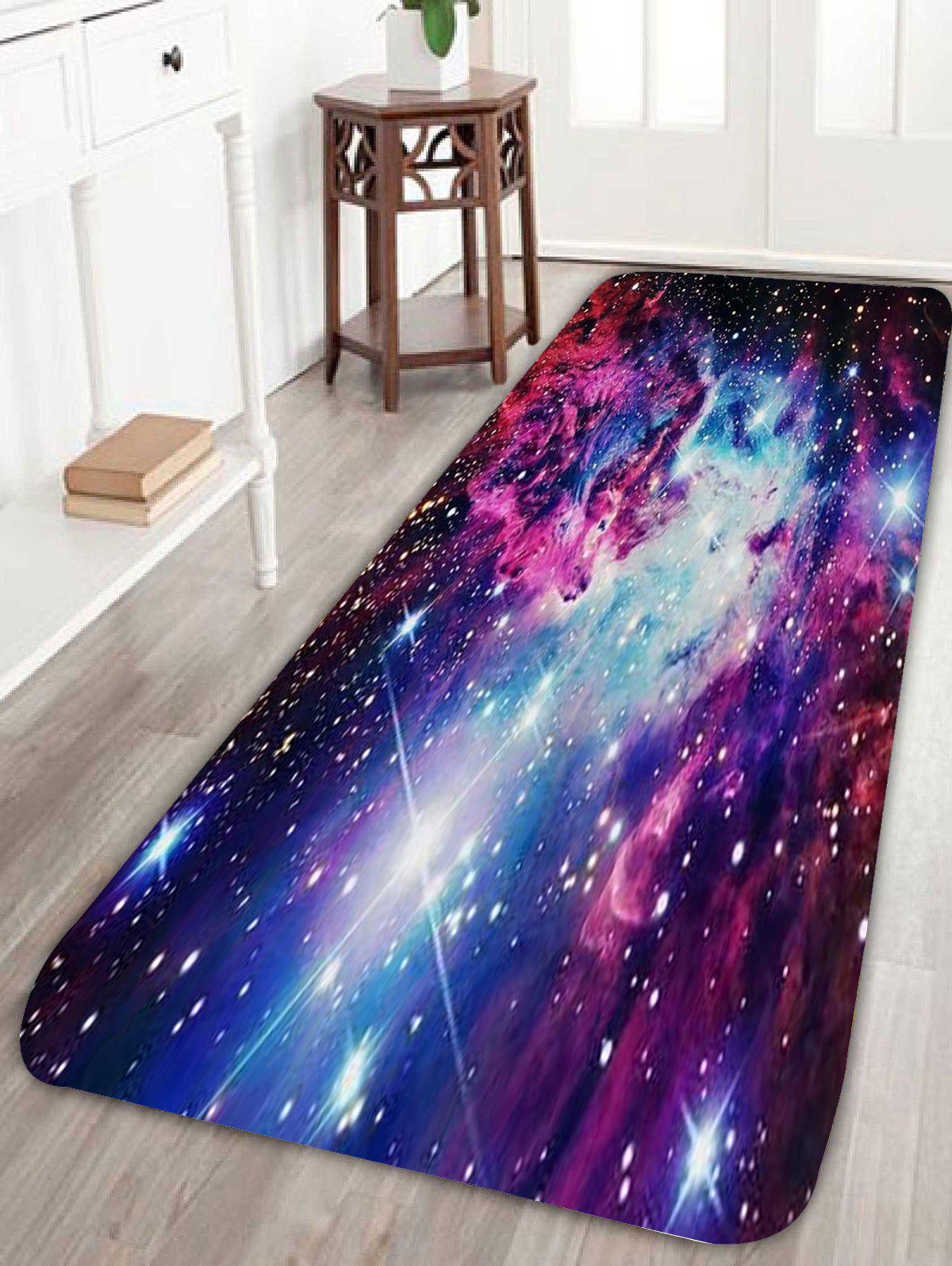 Outer Space Star Print Coral Fleece Nonslip RugHOME<br><br>Size: W24 INCH * L71 INCH; Color: BLUE; Products Type: Bath rugs; Materials: Coral FLeece; Pattern: Print; Style: Trendy; Shape: Rectangle; Package Contents: 1 x Rug;