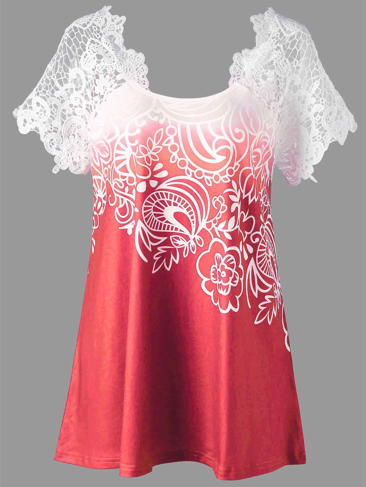 Lace Panel Raglan Sleeve Floral Plus Size TopWOMEN<br><br>Size: 4XL; Color: WATERMELON RED; Material: Polyester,Spandex; Shirt Length: Regular; Sleeve Length: Short; Collar: Round Neck; Style: Fashion; Season: Fall,Spring,Summer; Embellishment: Lace; Pattern Type: Floral; Weight: 0.2300kg; Package Contents: 1 x Top;