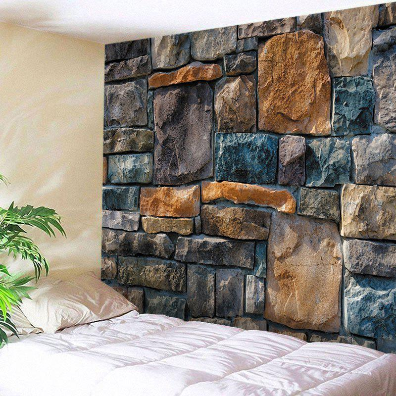 Wall Hanging Art Decoration Stone Brick Wall Print TapestryHOME<br><br>Size: W91 INCH * L71 INCH; Color: COLORMIX; Style: Vintage; Material: Polyester; Feature: Washable; Shape/Pattern: Wall; Weight: 0.4500kg; Package Contents: 1 x Tapestry;