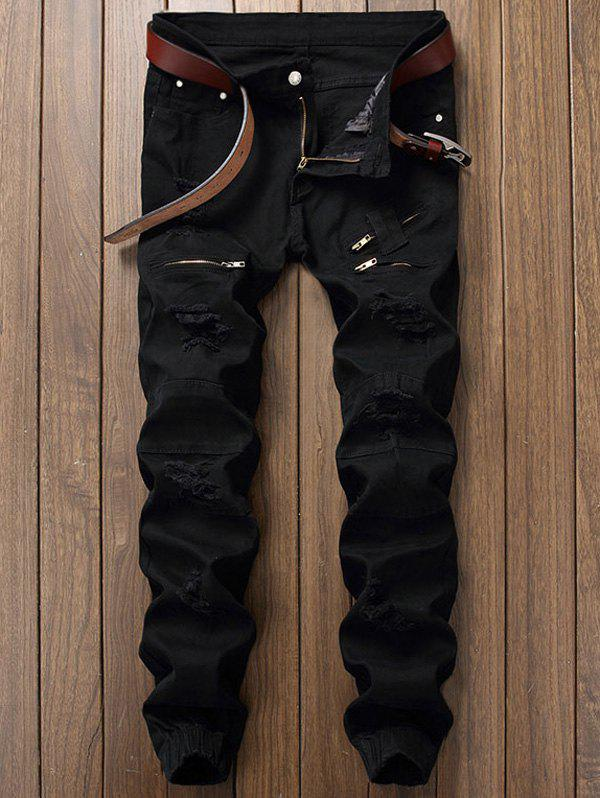 Distressed Zipper Fly Panel Design Beam Feet JeansMEN<br><br>Size: 30; Color: BLACK; Material: Cotton,Jean; Pant Length: Long Pants; Wash: Destroy Wash; Fit Type: Regular; Closure Type: Zipper Fly; Weight: 0.5280kg; Package Contents: 1 x Jeans; With Belt: No;