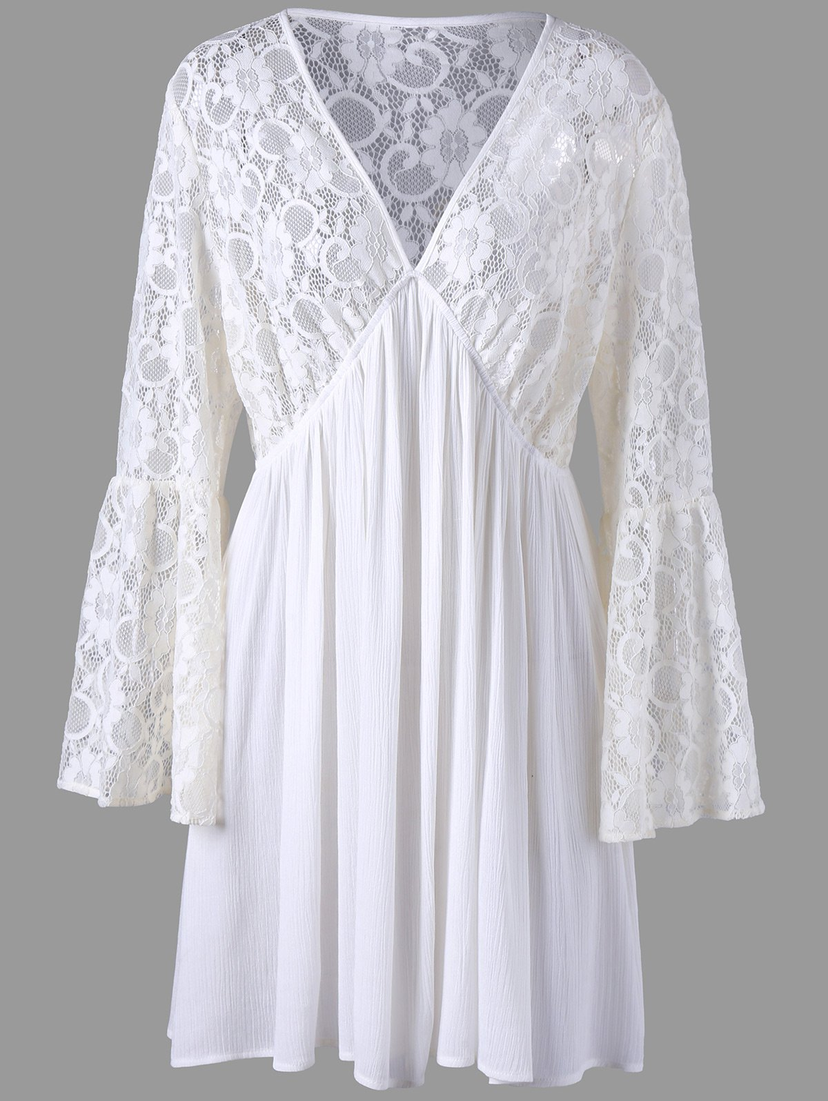 Plus Size Lace Sheer Long Sleeve Skater DressWOMEN<br><br>Size: 3XL; Color: OFF-WHITE; Style: Bohemian; Material: Rayon,Spandex; Silhouette: A-Line; Dresses Length: Mini; Neckline: Plunging Neck; Sleeve Length: Long Sleeves; Pattern Type: Floral; With Belt: No; Season: Summer; Weight: 0.3100kg; Package Contents: 1 x Dress;