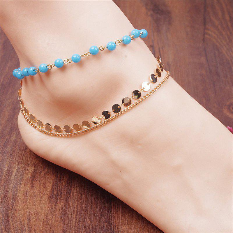 Store Disc Sequins Layered Chain Beaded Anklet
