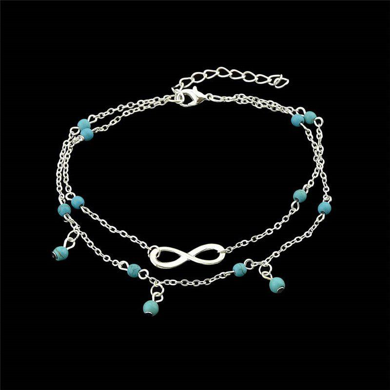 Faux Turquoise Beads Infinite Charm AnkletJEWELRY<br><br>Color: SILVER; Gender: For Women; Style: Trendy; Shape/Pattern: Geometric; Length: 28.4CM; Weight: 0.0300kg; Package Contents: 1 x Anklet;
