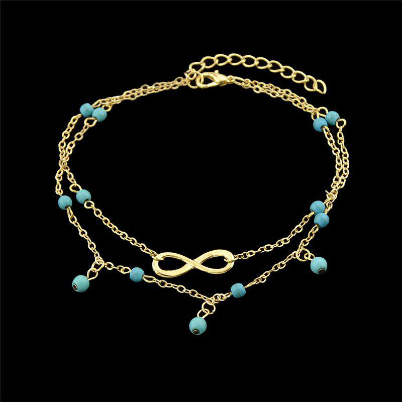 Outfit Faux Turquoise Beads Infinite Charm Anklet