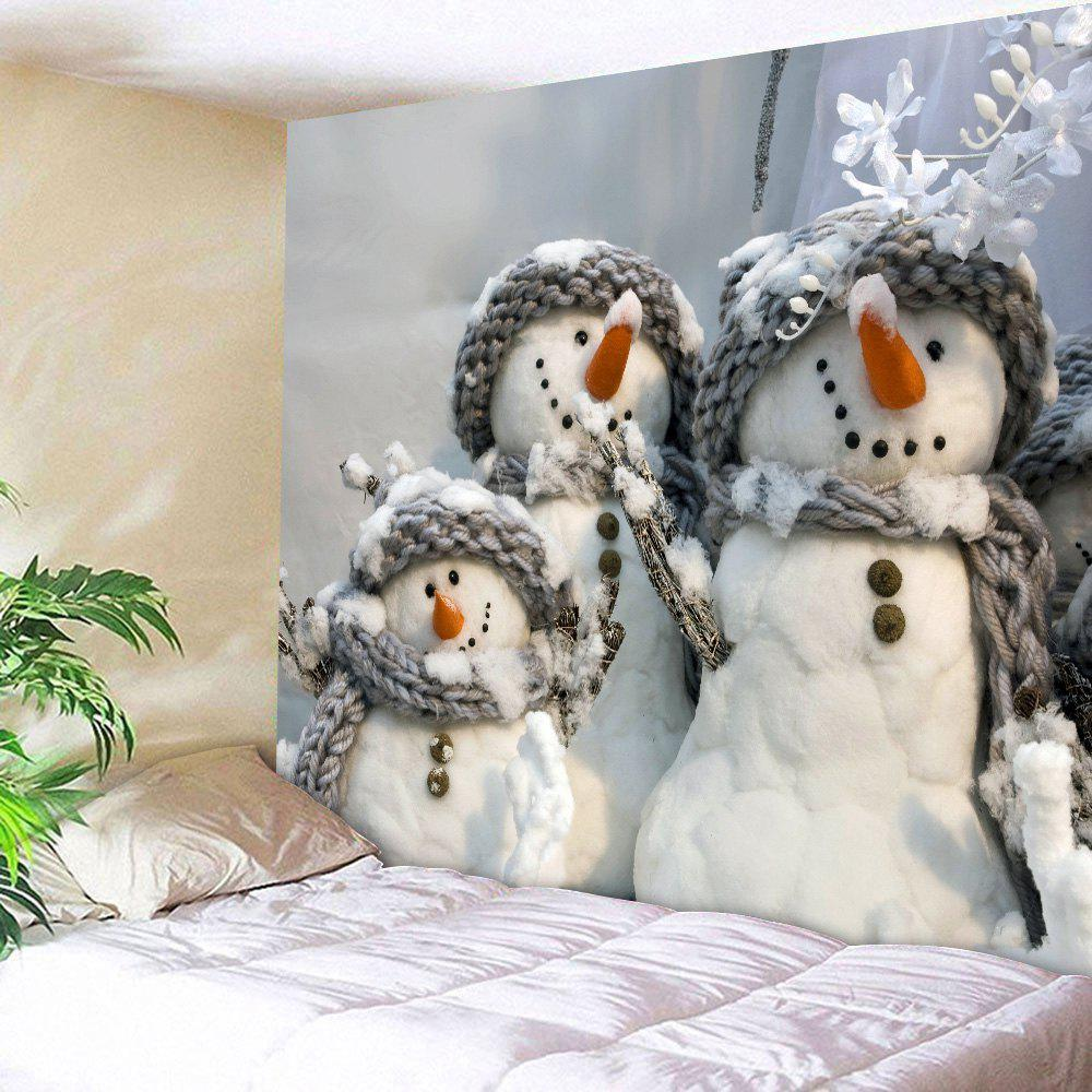Snowmen Wall Art Decorative Throw TapestryHOME<br><br>Size: W71 INCH * L91 INCH; Color: GRAY; Style: Cute; Theme: Cartoon; Material: Polyester; Feature: Removable,Washable; Shape/Pattern: Print; Weight: 0.3800kg; Package Contents: 1 x Tapestry;
