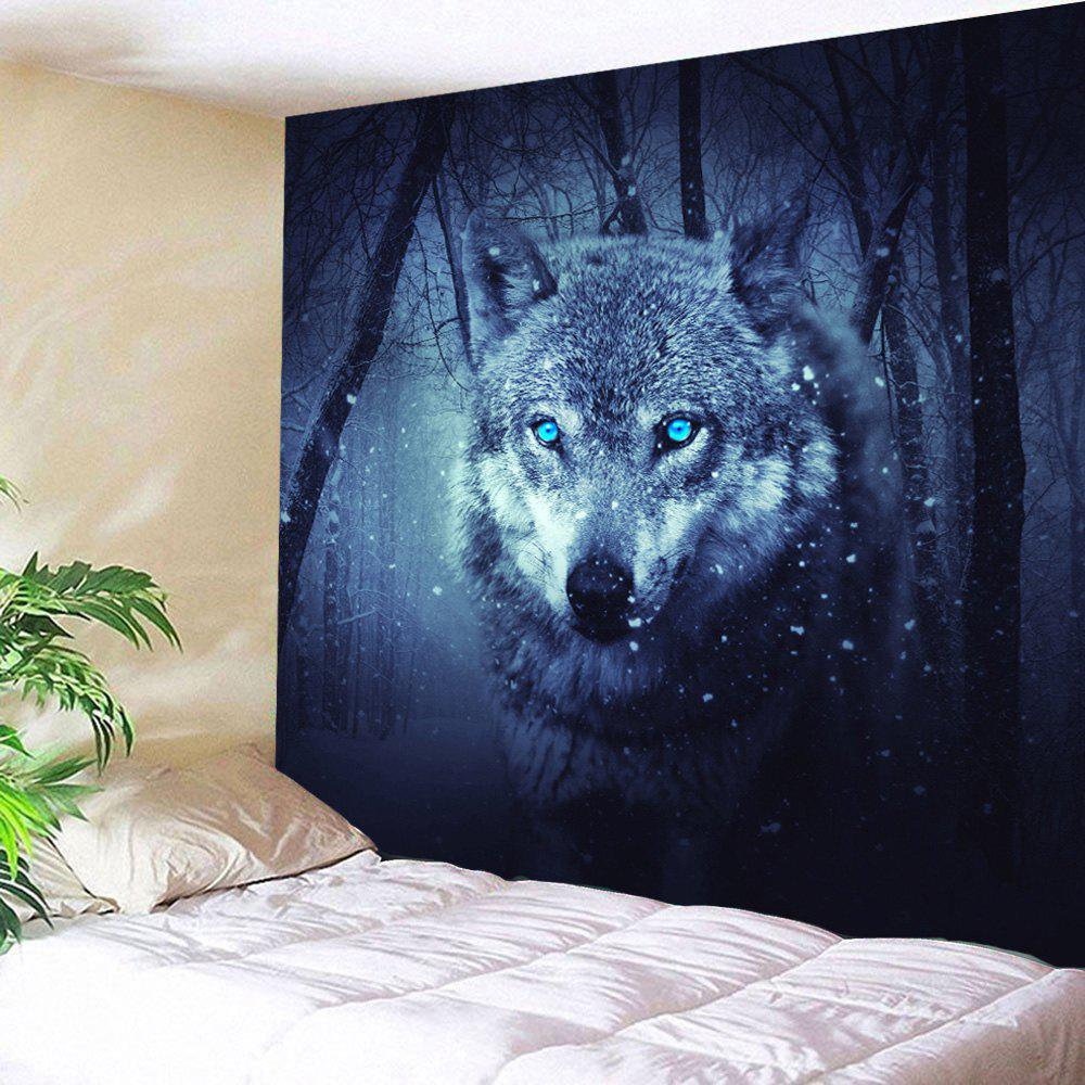 Snow Wolf Tapestry Wall Decoration For BedroomHOME<br><br>Size: W59 INCH * L79 INCH; Color: DEEP BLUE; Style: Fresh Style; Theme: Animals; Material: Polyester; Feature: Removable,Washable; Shape/Pattern: Print; Weight: 0.2700kg; Package Contents: 1 x Tapestry;