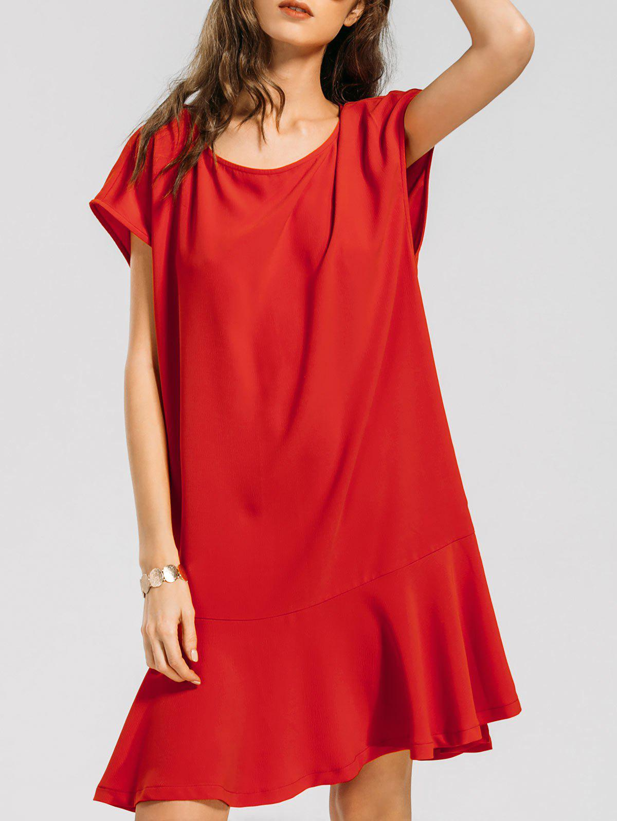 Shops Ruffled Hem Cap Sleeve Casual Dress