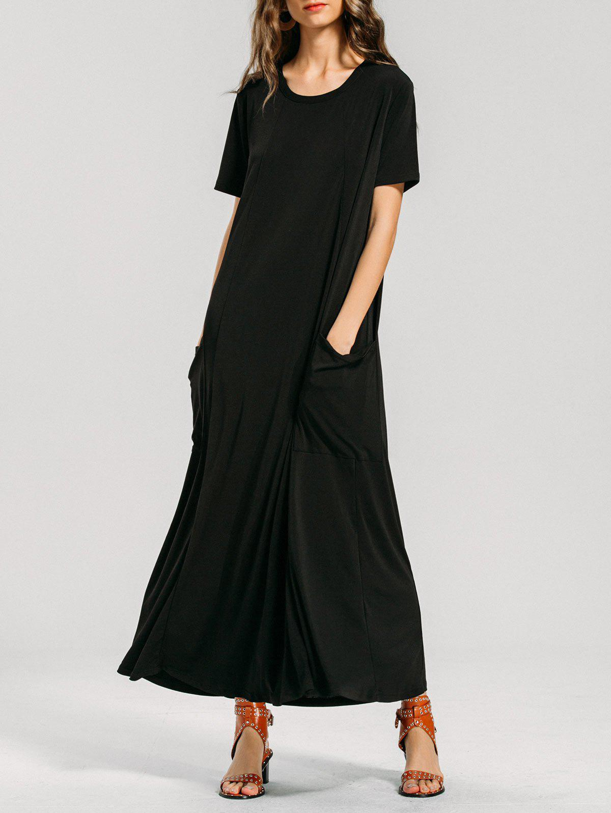 Affordable Short Sleeve Formal Pockets Maxi Dress