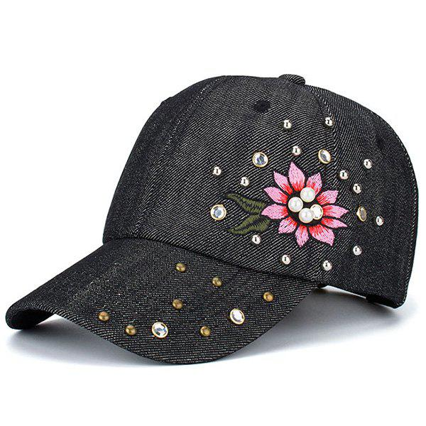 Floral Embroidered Rhinestone Rivet Baseball HatACCESSORIES<br><br>Color: BLACK; Hat Type: Baseball Caps; Group: Adult; Gender: For Women; Style: Fashion; Pattern Type: Floral; Material: Polyester; Weight: 0.1000kg; Package Contents: 1 x Hat;
