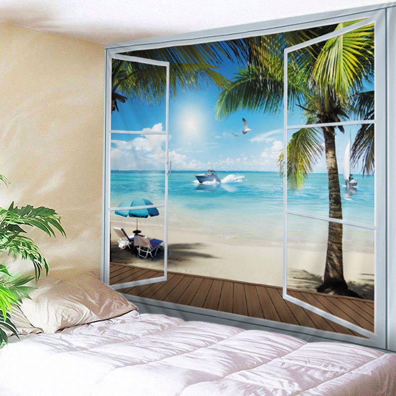 Belcony Beach Print Tapestry Wall Hanging Art DecorationHOME<br><br>Size: W79 INCH * L71 INCH; Color: LAKE BLUE; Style: Beach Style; Theme: Beach Theme,Holiday; Material: Polyester; Feature: Washable; Shape/Pattern: Plant,Window; Weight: 0.4500kg; Package Contents: 1 x Tapestry;