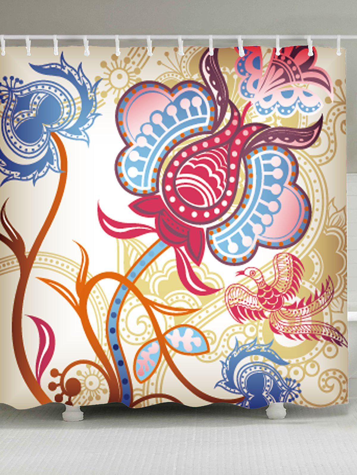 Fancy Water Resistant Fabric Ethnic Art Shower Curtain