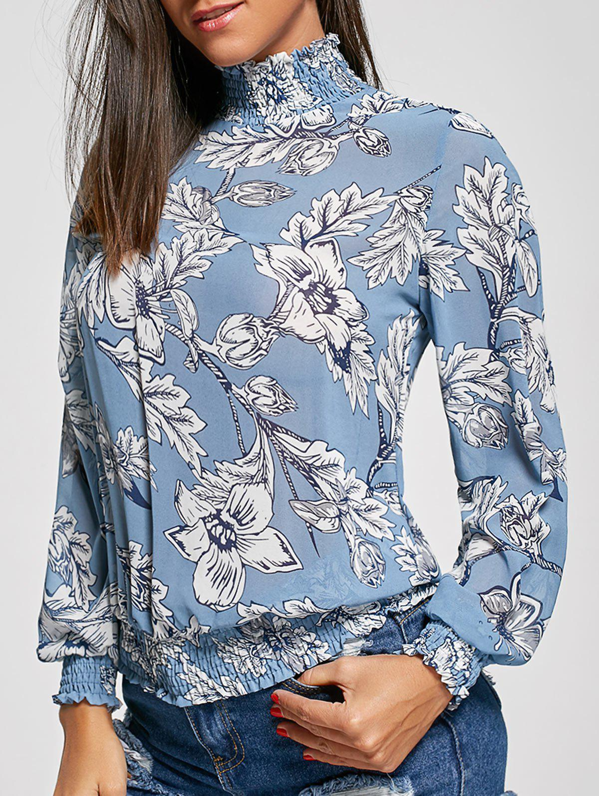 Fashion Mock Neck Floral Chiffon Top