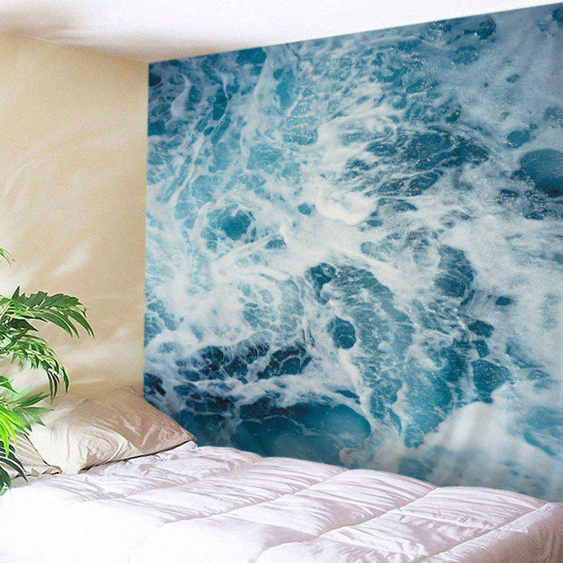 Ocean Waves Print Tapestry Wall Hanging Art DecorationHOME<br><br>Size: W79 INCH * L71 INCH; Color: LAKE BLUE; Style: Fresh Style; Theme: Landscape; Material: Polyester; Feature: Washable; Shape/Pattern: Print; Weight: 0.4500kg; Package Contents: 1 x Tapestry;
