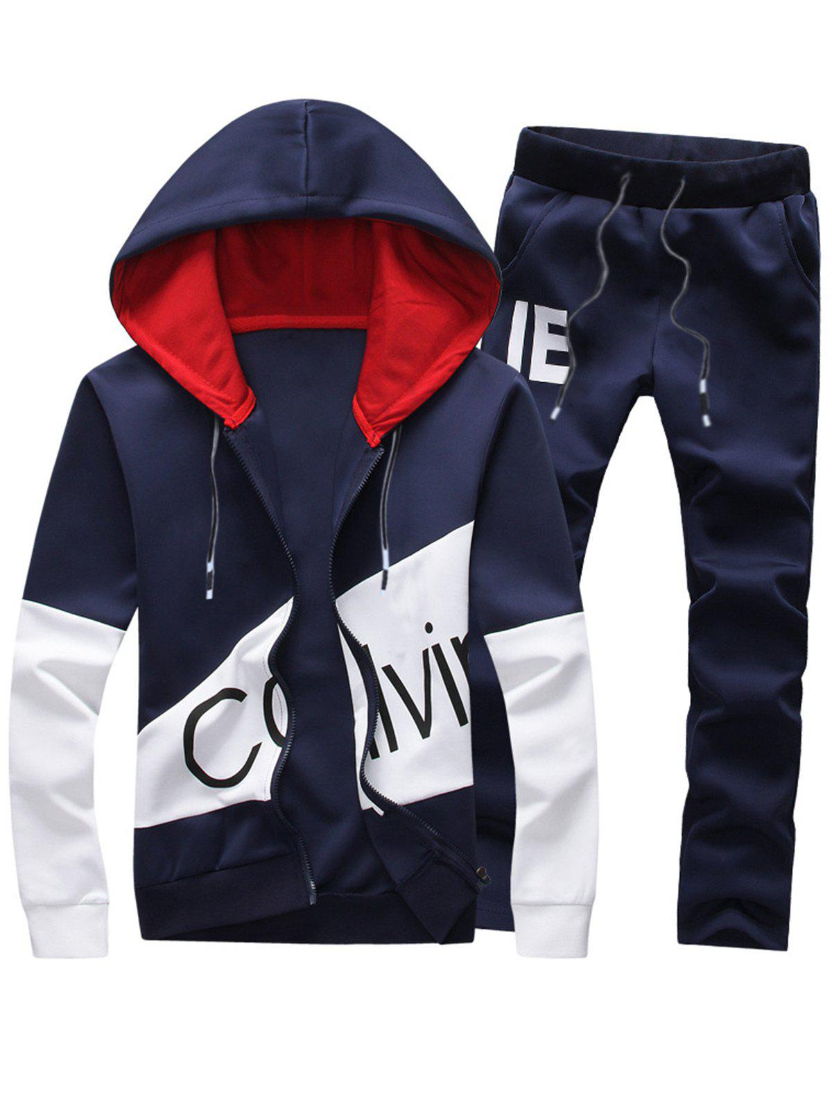 Graphic Color Block Panel Hoodie and Pants TwinsetMEN<br><br>Size: 2XL; Color: PURPLISH BLUE; Material: Cotton,Polyester; Shirt Length: Regular; Sleeve Length: Full; Style: Fashion; Weight: 0.9230kg; Package Contents: 1 x Hoodie  1 x Pants;