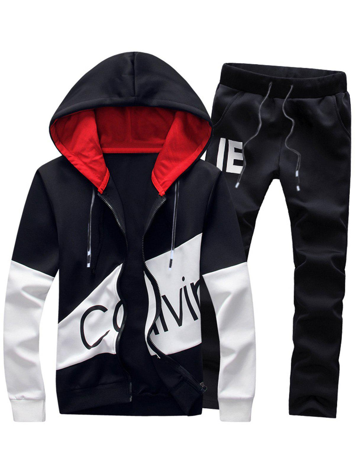 Graphic Color Block Panel Hoodie and Pants TwinsetMEN<br><br>Size: 4XL; Color: BLACK; Material: Cotton,Polyester; Shirt Length: Regular; Sleeve Length: Full; Style: Fashion; Weight: 0.9230kg; Package Contents: 1 x Hoodie  1 x Pants;