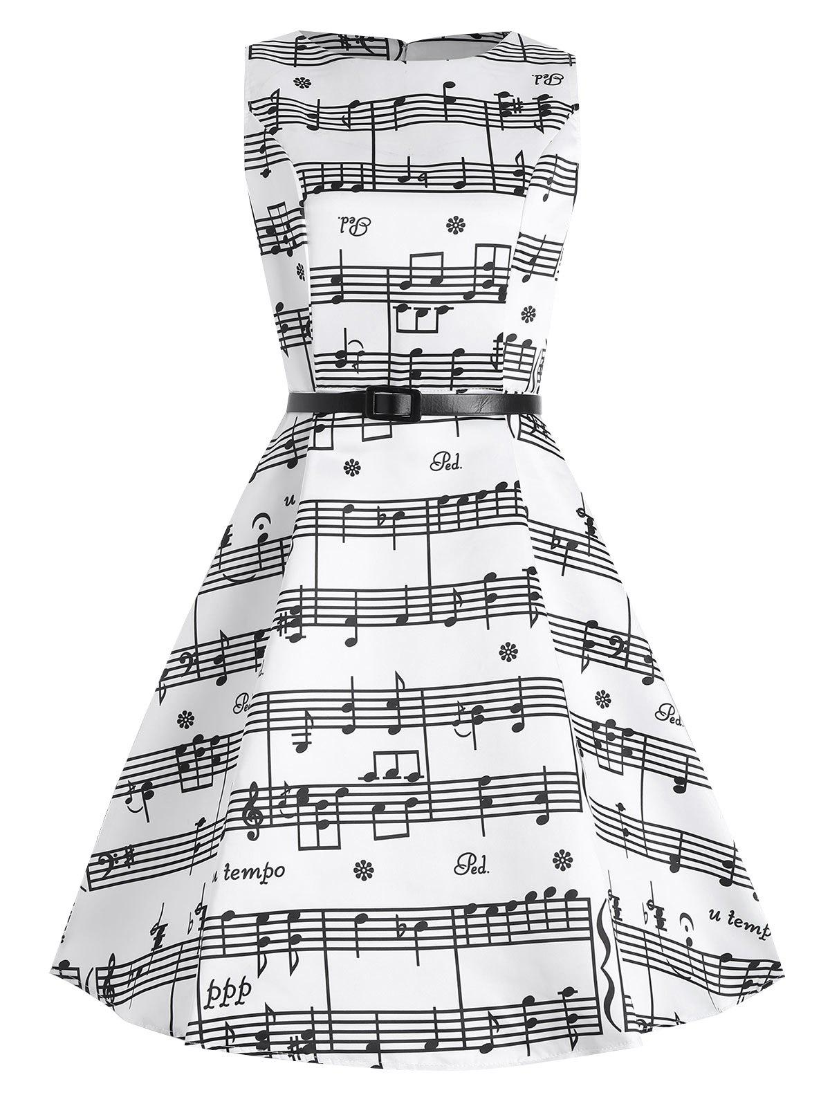 Plus Size Music Pattern Midi 1950s DressWOMEN<br><br>Size: 2XL; Color: WHITE; Style: Vintage; Material: Cotton Blend,Polyester; Silhouette: Ball Gown; Dresses Length: Mid-Calf; Neckline: Round Collar; Sleeve Length: Sleeveless; Pattern Type: Graphic,Print; With Belt: Yes; Season: Spring,Summer; Weight: 0.3000kg; Package Contents: 1 x Dress 1 x Belt;