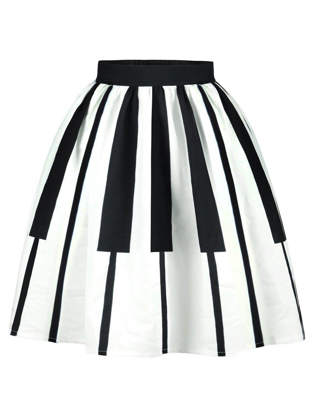 Striped High Waist Two Tone SkirtWOMEN<br><br>Size: M; Color: WHITE AND BLACK; Material: Polyester; Length: Mid-Calf; Silhouette: A-Line; Pattern Type: Striped; Season: Summer; With Belt: No; Weight: 0.2900kg; Package Contents: 1 x Skirt;