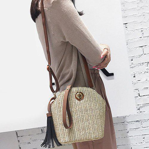Tassel Straw Weave Crossbody Bag